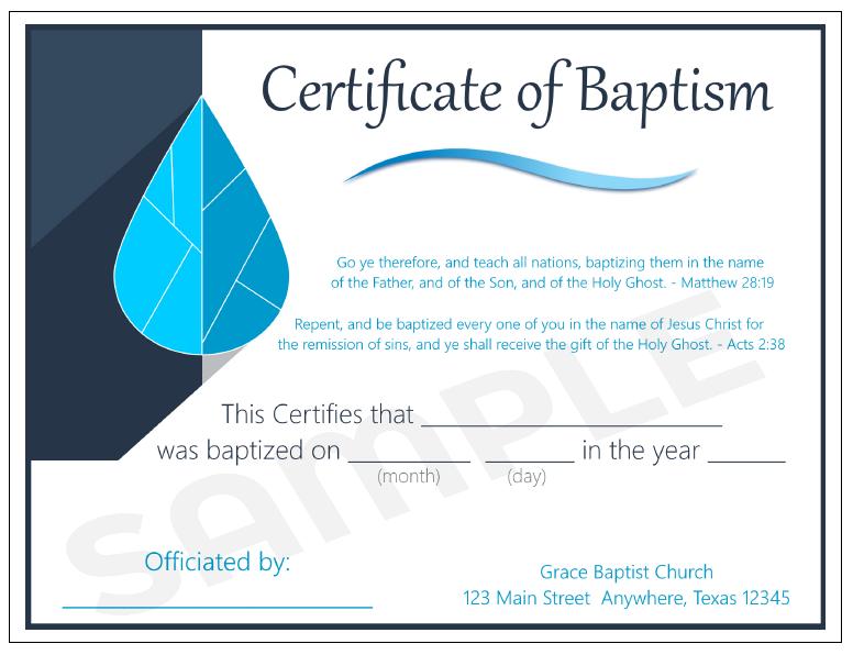 Baptism certificates baptismalrobesnet for Water baptism certificate