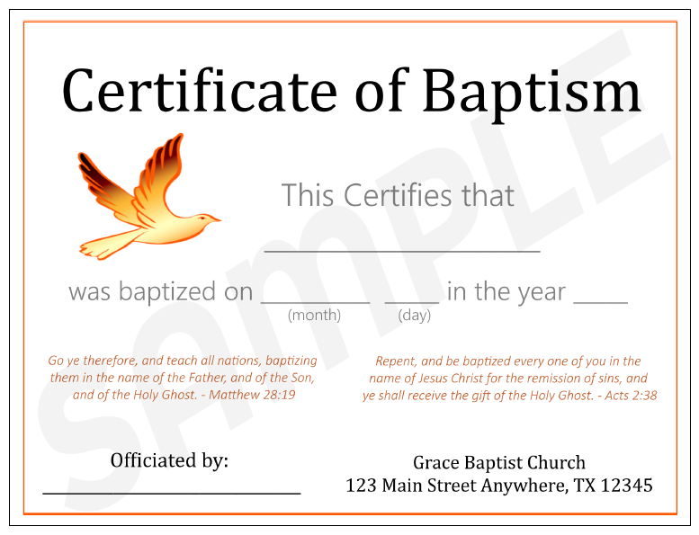 Baptism certificates for Free water baptism certificate template